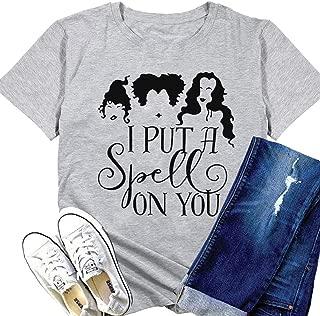 I Put A Spell On You Halloween T-Shirt Women Hocus Pocus Shirt Sanderson Sisters Tee Top