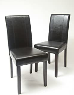 Roundhill Furniture Urban Style Solid Wood Leatherette Padded Parson Chair, Black, Set of 2