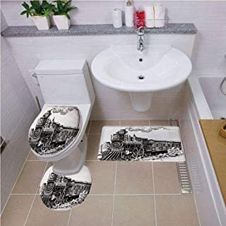 Bath mat Set Round-Shaped Toilet Mat Area Rug Toilet Lid Covers 3PCS,Steam Engine,Rustic Old Train in Country Locomotive Wooden Wagons Rail Road with Smoke,Black and White,Bath mat Set Round-Shaped T