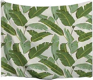 A.Monamour Fondo Blanco Verde Árbol De Plátano Hojas Plantas Tropicales Impresión De Imagen Tejido De Pared Arte Tapicería De Decoración Pared Colgando para El Dormitorio 102x153cm
