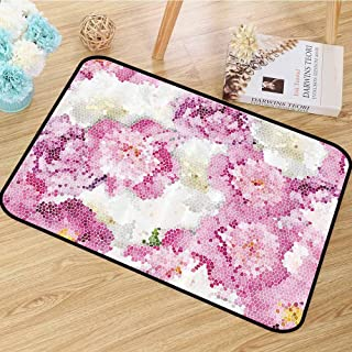 Nature Area Floor Rugs Spring Themed Mosaic Texture Peony Flowers Artistic Floral Soft Colors Art Anti-Static W59 x L82 Pink Purple White