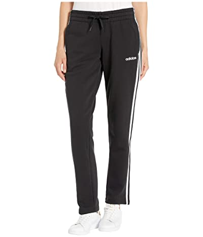 adidas Essential 3-Stripes Fleece Open Hem Pants (Black/White) Women