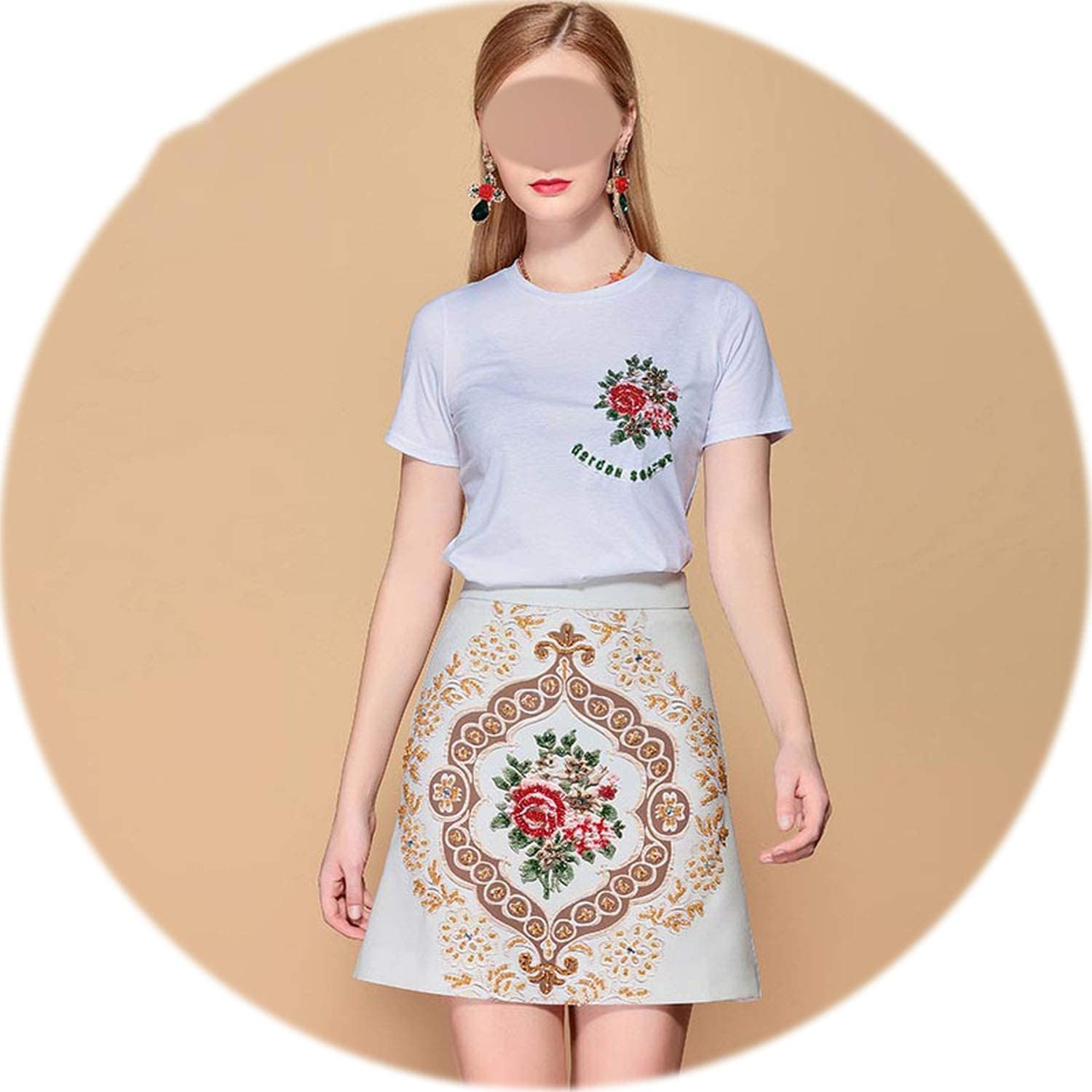 Rather be Fashion Vintage Mini Skirt 2 Two Pieces Women's TShirt and Gorgeous Crystal Beading Skirts Sets Ladys Suits,Multi,S