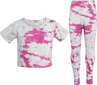 Kids Girls Crop Top & Legging Pink Tie Dye Print Fashion Summer Outfit Sets 5-13
