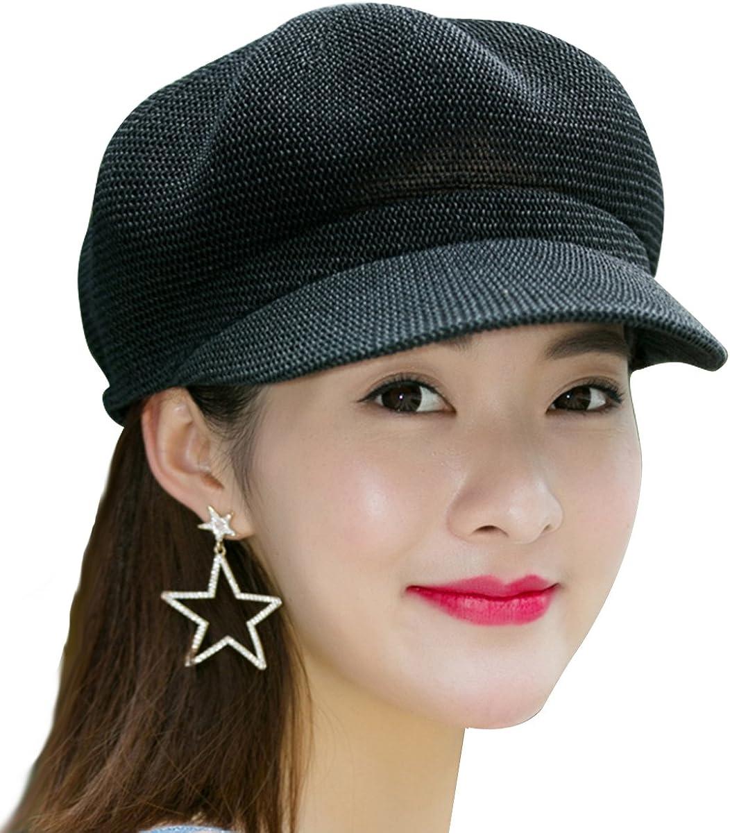 Women Summer Straw Newsboy Cap Beret Breathable Mesh Octagonal Cap Sun Hat Beach Hats for Women
