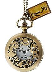 [リトルマジック] アリス 懐中時計 革ひも、うさぎモチーフ付き アンティーク 調 ペンダント 懐中時計 * レトロ * カワイイ *drink me付き*インポート