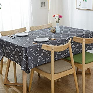 Lamberia Tablecloth Waterproof Spillproof Polyester Fabric Table Cover for Kitchen Dinning Tabletop Decoration (Charcoal Gray, 60
