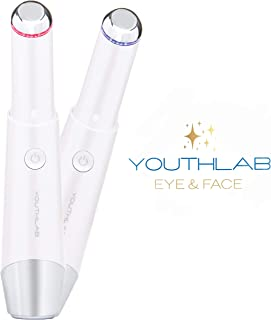 YOUTHLAB Eye & Face, Temple Massager Tool/Wand/Pen, Heated/Warm, Sonic Vibration, Anti Aging, Eye Fatigue Relief, Puffy Eyes/Dark Circles/Eye Bag Corrector, Boost Product Absorption, Lip Wrinkles