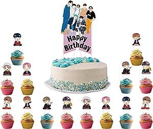 BTS Happy Brithday Party Cake Topper(15pcs)Food Safe Bangtan Boy Cake Decoration For BTS Fans Party Cupcake Topper Bangtan Boys Band Theme Birthday Party Supplies