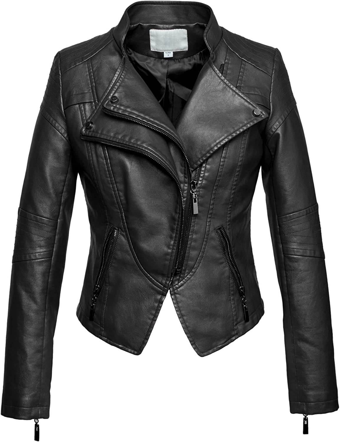 Chouyatou Women's Fashion Tailored ZipUp Faux Leather Quilted Racer Jacket