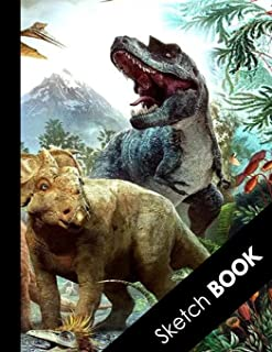 Sketch Book: Practice Drawing, Doodle, Paint, Write: Large Sketchbook And Creative Journal | Special Dinosaur Jungle Landscape Cover
