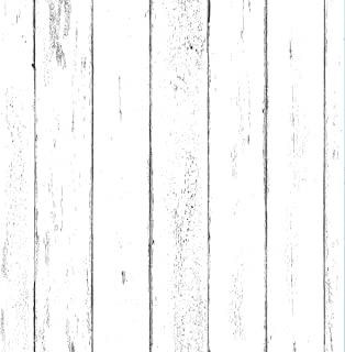 """White Wood Wallpaper - Wood Peel and Stick Wallpaper - Contact Paper or Wall Paper - Removable Wallpaper - Prepasted Wallpaper - 1.48 ft. x 9.83 ft. - 14.55 sq. ft. (17.71"""" Wide x 118"""" Long)"""
