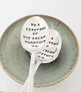 Anniversary Gift - To a Lifetime of Ice Cream Together - Personalized Gift - Hand Stamped Spoons - Valentine's Day Gift