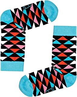 Premium Turkish Cotton Retro Triangle Patterned Colorful Style Fashion Casual Socks For Mens