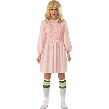 Stranger Things Eleven Long Sleeve Adult Costume Dress - Pink ...
