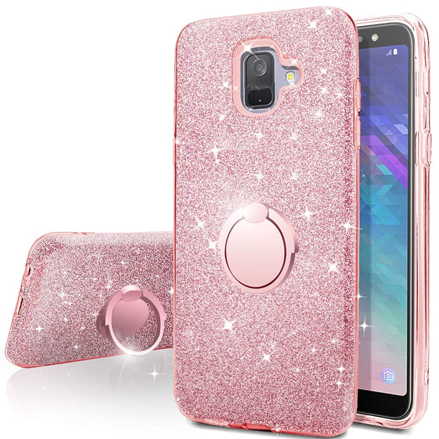Galaxy A6 2018 Case,Silverback Girls Bling Glitter Sparkle Cute Phone Case with 360 Rotating Ring Stand, Soft TPU Outer Cover + Hard PC Inner Shell Skin for Samsung Galaxy A6 2018 -Rose Gold