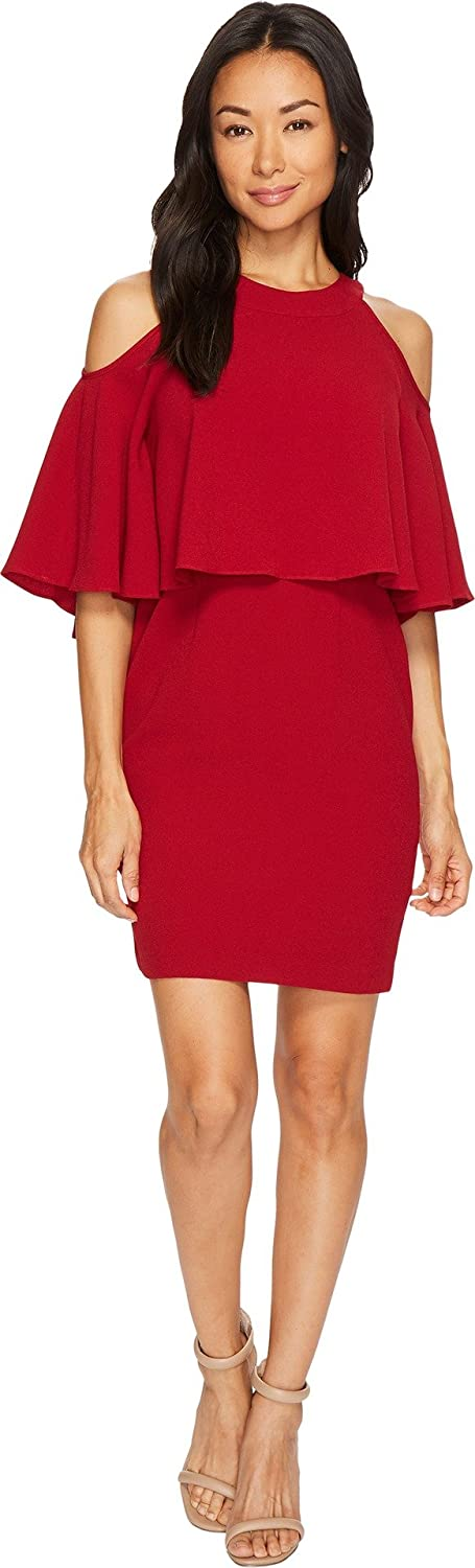 Adrianna Papell Women's Petite Textrd Crepe Cold Shoulder Sheath Dress Cranberry 14