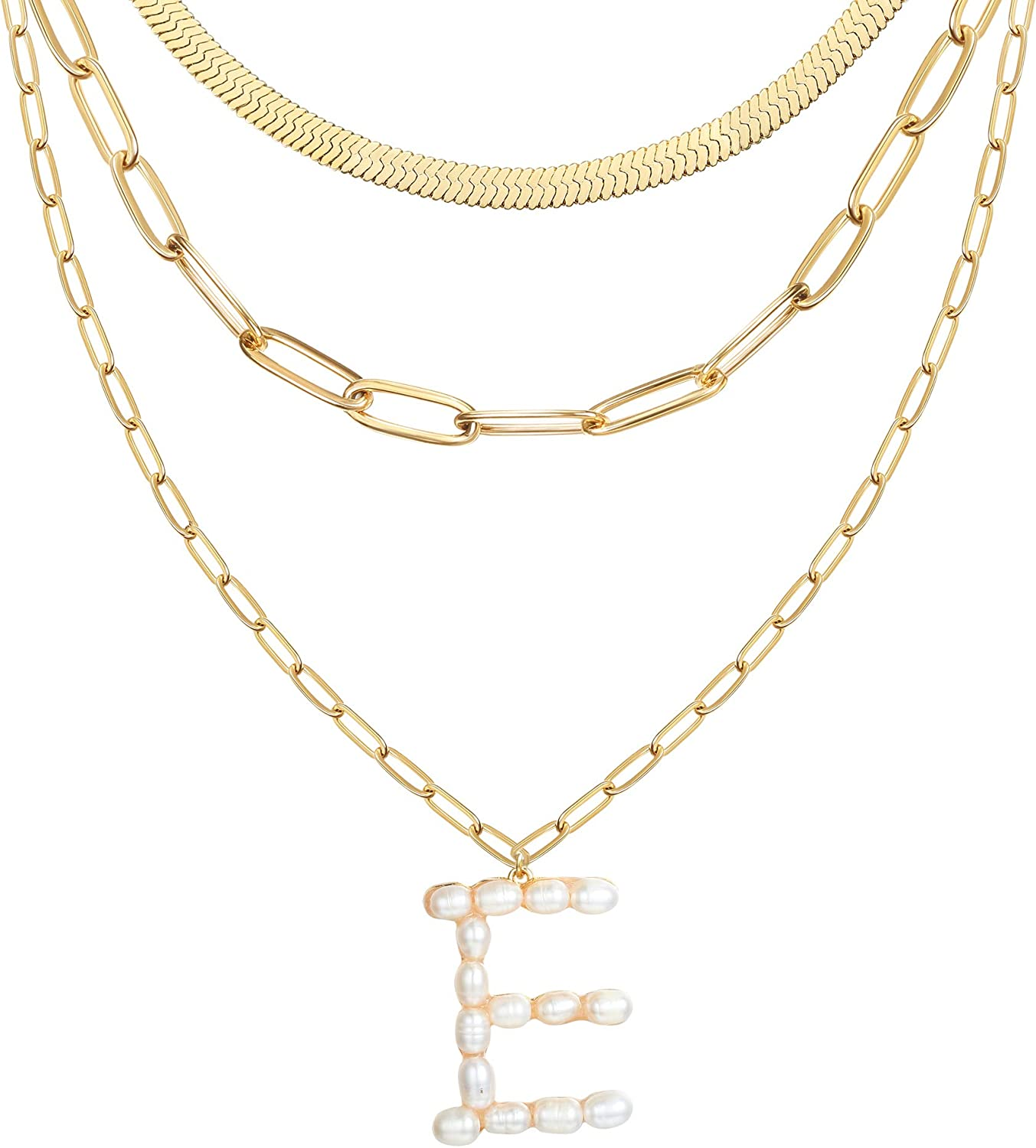 XCOIN Pearl Big Initial Pendant Necklace Gold Dainty Layered Chain Necklace Multilayer Sweater Large Letter Necklace Set for Women