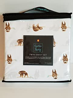 Cynthia Rowley Cute Smiling Sloths Hanging on Branches Novelty Sheet Set (Twin)