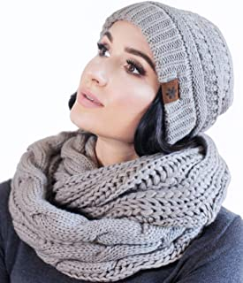 Hat and Scarf Set Slouchy Cable Knit Beanie Winter Cap with Matching Infinity Scarf for Women