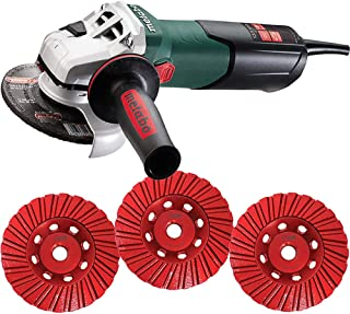 Metabo WEV15-125 - 4.5/5 Inch Angle Grinder 13.5 Amp 2,800-9,600 rpm- 4 Inch THD Turbo DiamondCup Wheel - Set, Fine, Medium, Coarse - Bundle - 4 Items