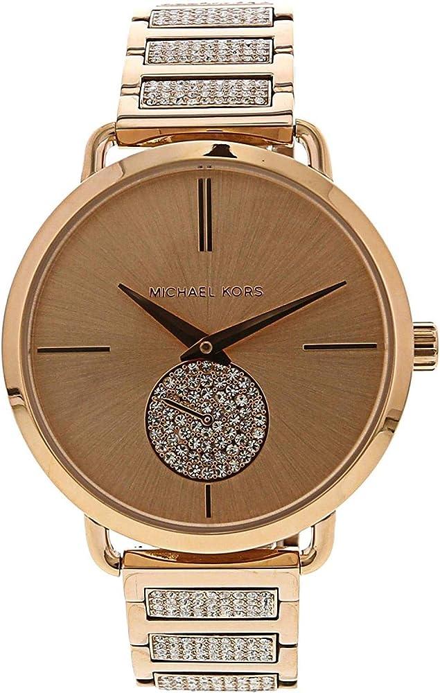 Michael kors, orologio da donna, in accio inossidabile e pave` di cristallo MK3853