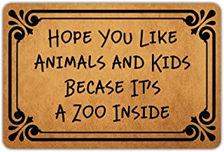Muikoo Front Door Mat Welcome Mat Hope You Like Animals and Kids Becase It's A Zoo Inside Washable Rubber Non Slip Backing Funny Doormat Indoor Outdoor Rug 23.6