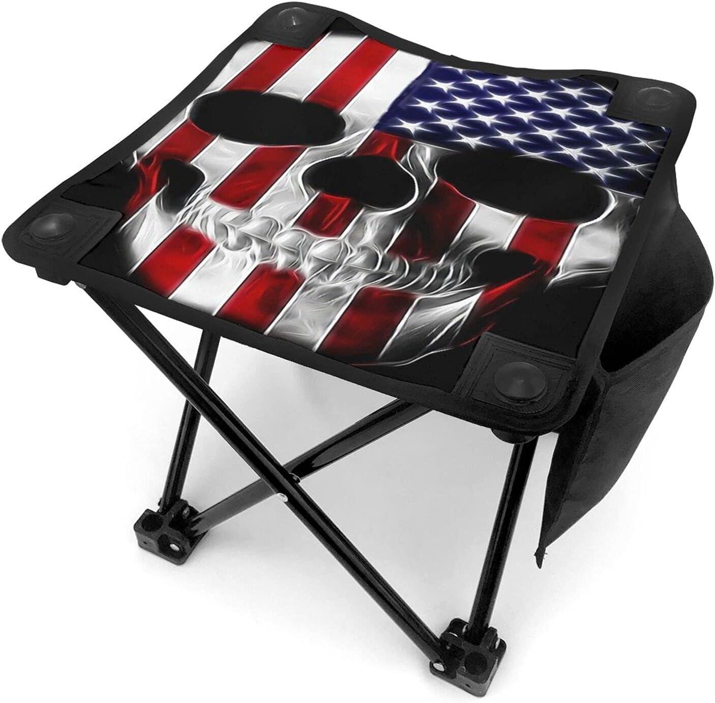 American Flag Skull Camping Minneapolis Mall Selling rankings Stool Folding Inch Protable 12