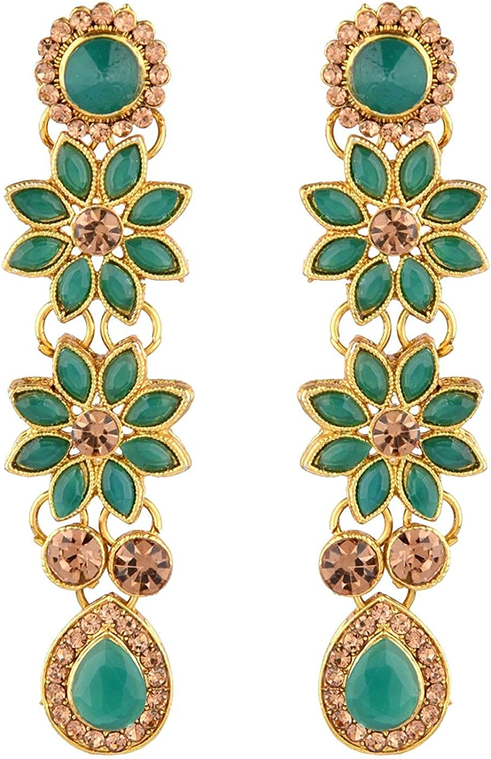 Efulgenz Indian Jewelry Floral Choker Necklace Maang Tikka Earrings Bollywood Wedding Crystal Necklace Earrings Head Chain Set