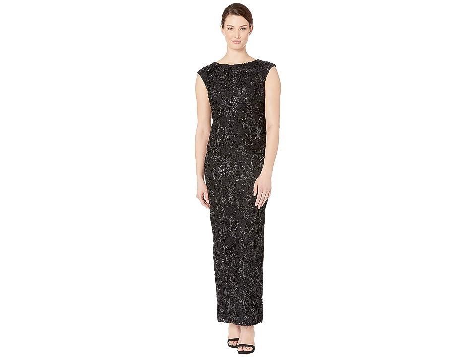 MARINA Soutache Cap Sleeve Fitted Dress with Back Slit (Black) Women