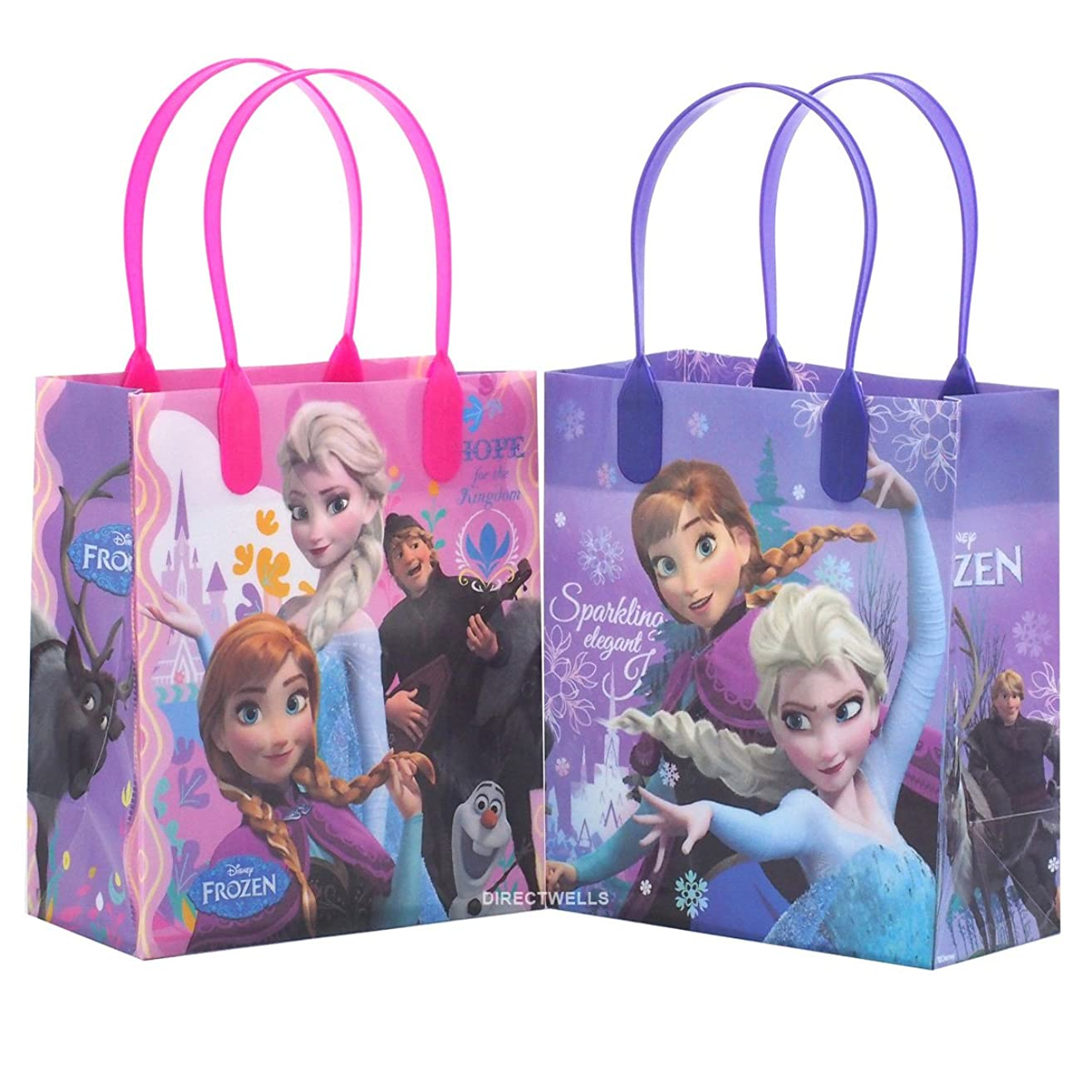 Disney Frozen Elegant and Premium Quality Party Favor Reusable Goodie Small Gift Bags 12 (12 Bags)