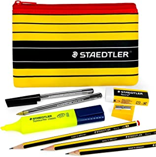 Staedtler Noris Pencil Case Set - 430M Ballpoint Pens and Noris 120 Graphite Pencil Set - with Staedtler Highlighter, Eraser, Sharpener, and Pencil Case