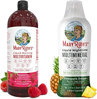 Liquid Multivitamins & Minerals Bundle by MaryRuth's | Morning Liquid Vitamins (Raspberry), 32oz | Liquid Sleep Multiminer...