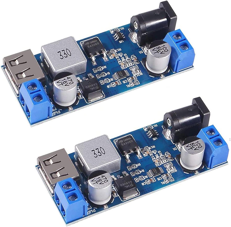 Buck Converter Module 12v to 5v 5A USB Voltage Regulator DC 9V-36V Step Down to USB 5V Transformer Dual Output Voltage Regulator Board for Phone Fast Charging(2 PCS)