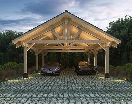Amazon Com Ecohousemart Wooden Carport For 2 Vehicles Patio Cover 20 X 22 X 16 Engineered Wood Glt Prefabricated Diy Garden Outdoor
