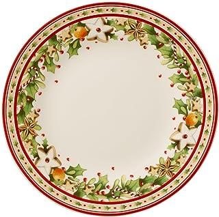 Villeroy & Boch Winter Bakery Delight Assiette petit-déjeuner, 21,5 cm, Porcelaine Premium, Blanc/Rouge