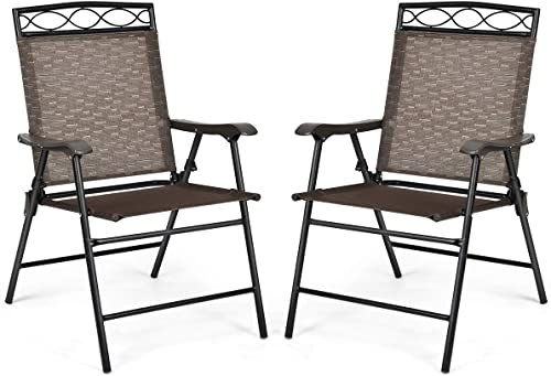 new arrival Giantex Set of 2 Patio online Chairs, Outdoor Folding Lawn Chairs for Beach, Backyard, Deck, Patio Dining Chairs, Sling Chairs with Armrest and Metal Frame, Folding Camping Chairs outlet sale (Brown) sale