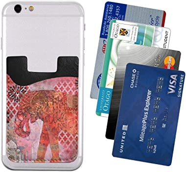 Fireworks Indian Elephant Red PU Leather Business Id Card Package RFID Credit Card Holder Clip Sleeve Wallet for Vehicle Car