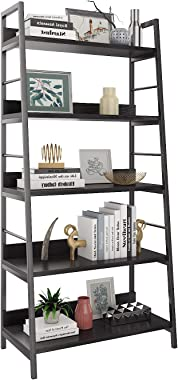 HIMIMI Black Ladder Bookshelf, 5 Shelf Bookcase Industrial Bookshelf Wood and Metal Bookshelves, Plant Flower Stand Rack Book