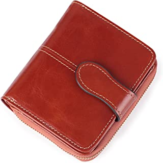 Small Wallet for Women RFID Blocking Leather Compact Bifold Pocket Wallet Cute Zipper Card Case Purse