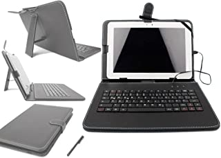 DURAGADGET Black Protective Leather Look Case With Micro USB German Keyboard Connection & Built In Stand For Kocaso M1070 10.1