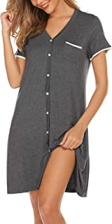 Ekouaer Short Sleeve Nightgowns for Women, Cute Sleepwear Button Down Sleep Shirt Dress