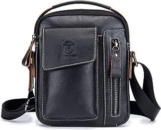 QINHAN Genuine Leather Small Shoulder Bag Multi-pocket Messenger Bag for Men Travel Z037 (Black)