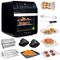 Yedi 12.7-Quart Air Fryer XL Oven with Deluxe Accessory Kit, Recipes, BPA-Free, Auto Shutoff (Black)