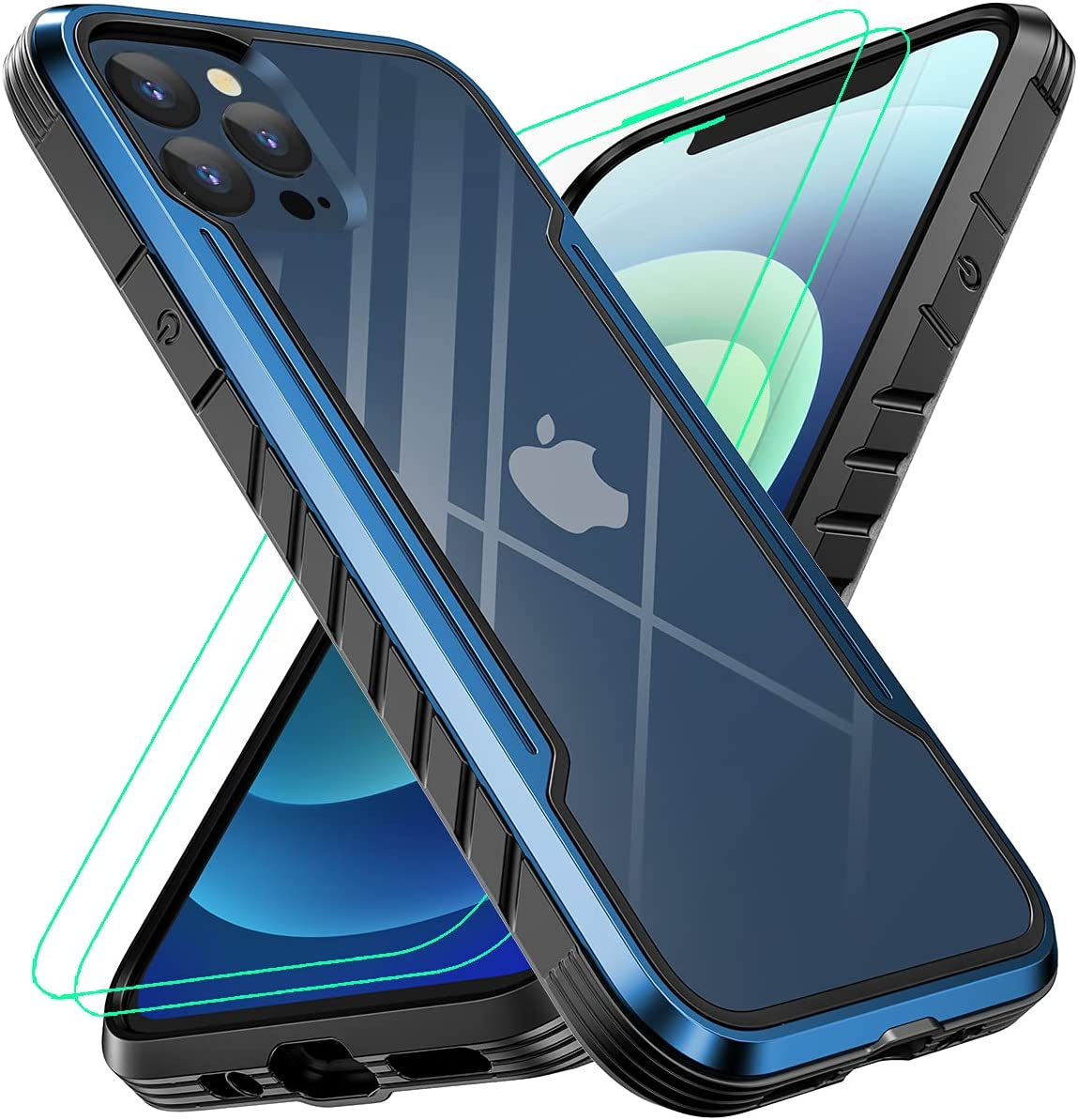 Sicher Designed for iPhone 12 Pro Max Case 6.7 Inch, Military Protective, Shockproof, with [2 x Tempered Glass Screen Protector], 6.6Ft Drop Tested, Aluminum Frame, Blue