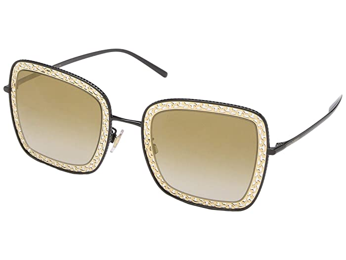 Dolce & Gabbana DG2225 (Black/Gradient Light Brown Gold Mirror) Fashion Sunglasses