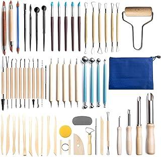 CHESSO Kit d'outils Poterie, 61PCS Outils de Sculpture Argile pour Travailler Argile Polymère Bougies Outils Modelage Céra...