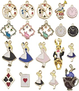 iloveDIYbeads 20pcs Assorted Gold Plated Enamel Alice in Wonderland Wreath Charm Pendant for DIY Jewelry Making Necklace Bracelet Earring DIY Jewelry Accessories Charms M187