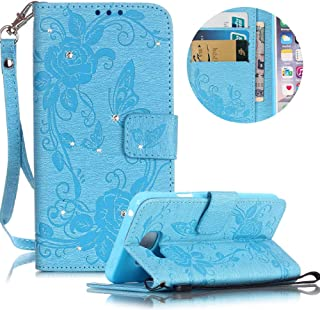 Leather Case for Samsung Galaxy A3 (2016) Butterfly Flower Pattern Girls Women Cover, MOIKY Luxury Glitter Sparkle Shiny Bling Rhinestone Magnetic Closure Wallet Pockets Credit Card Holder Flip Stand Cover Case For Samsung Galaxy A310 - Sky Blue