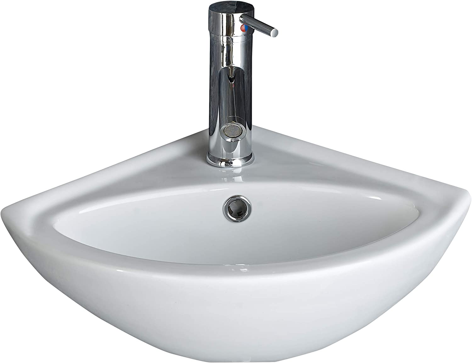 Clickbasin £49 VALUE RANGE Wall Hung Small Cloakroom Corner Basin MADEIRA